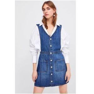 NWT Zara Denim Pinafore Dress
